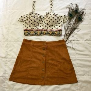 High Rise Suede Button up front  A LINE MINI SKIRT